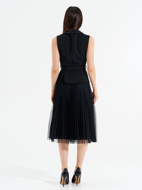 Plissé and Tulle dress Black - CFC0097490003B001