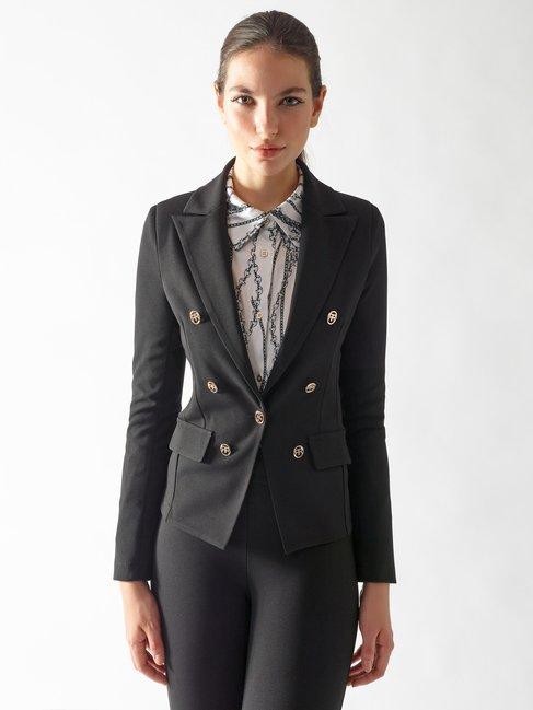 Veste Cintrée avec Boutons Monogramme Noir - CFC0097492003B001