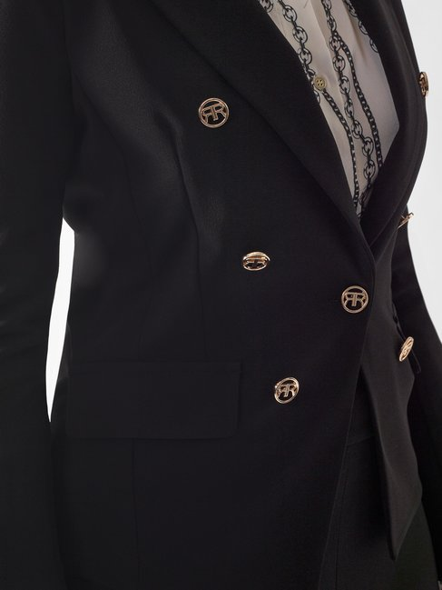 Shaped Jacket with Monogram Buttons Black - CFC0097492003B001