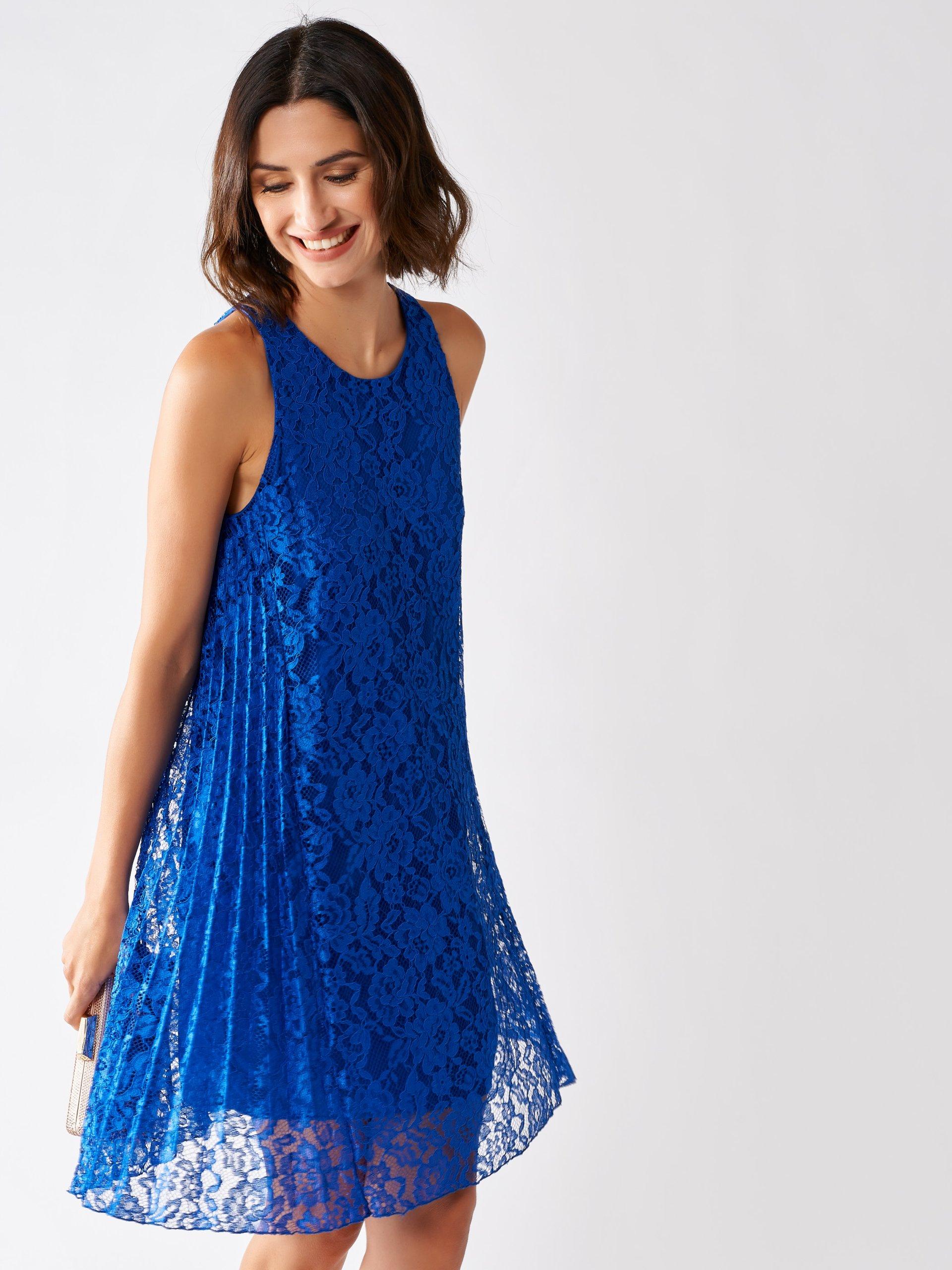Kurzes Kleid Aus Spitze Und Plissee China Blau Rinascimento Kleider Fs 2020