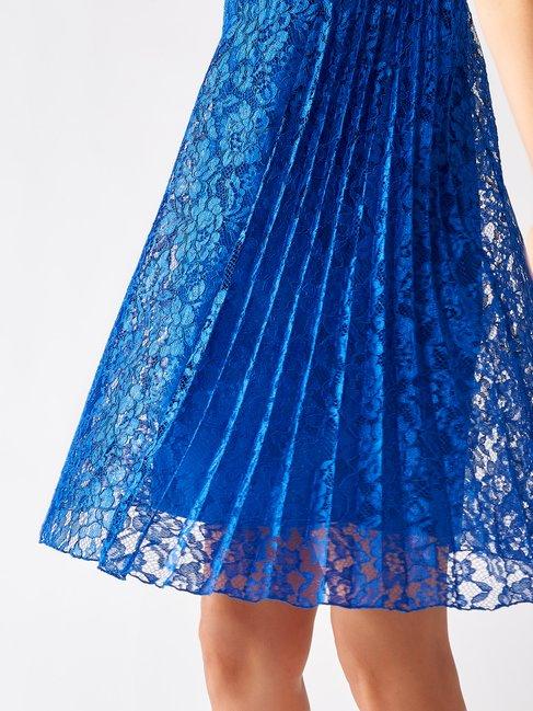 Short Lace and Plissé Dress Blue China - CFC0097494003B055