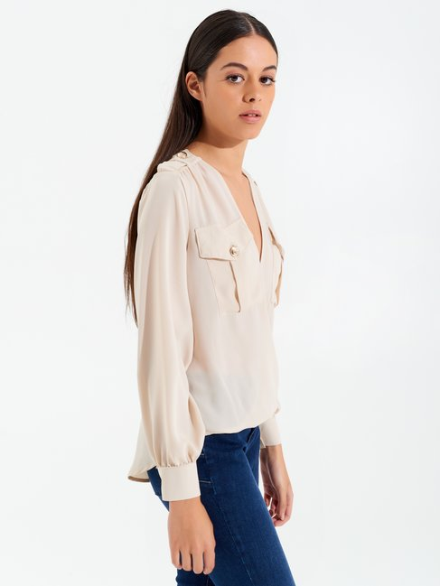 Long-sleeved crossover blouse Beige - CFC0097961003B101