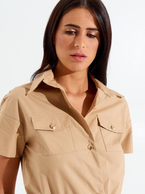 Short-sleeved Jumpsuit Camel Beige - CFC0098110003B117