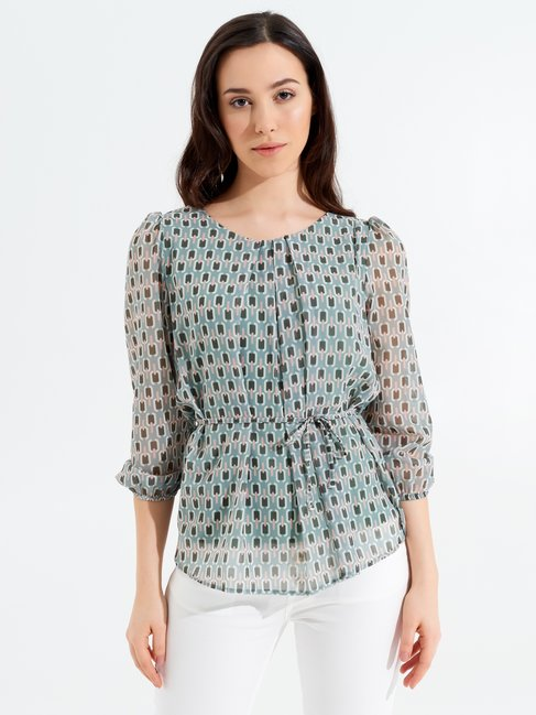 Printed Long-sleeved Blouse var green mint - CFC0098170003B489