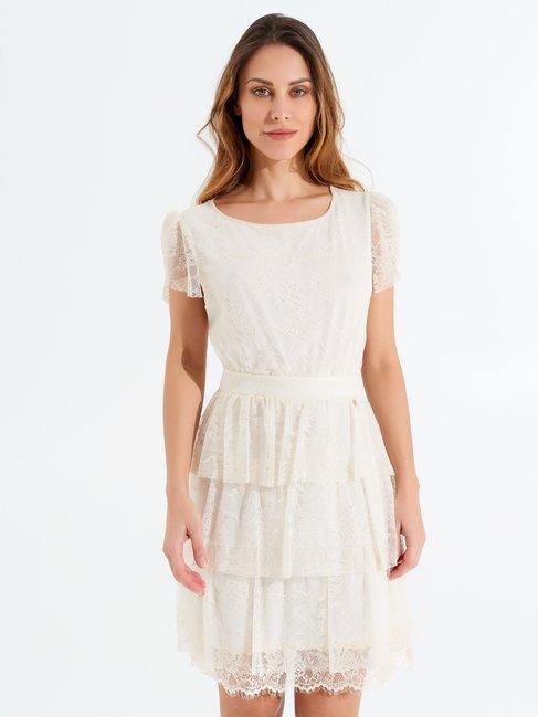 Short Lace Dress Beige - CFC0098214003B101