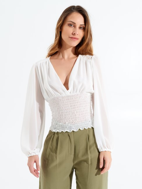 Blusa con Scollo a V Bianco - CFC0098248003B021