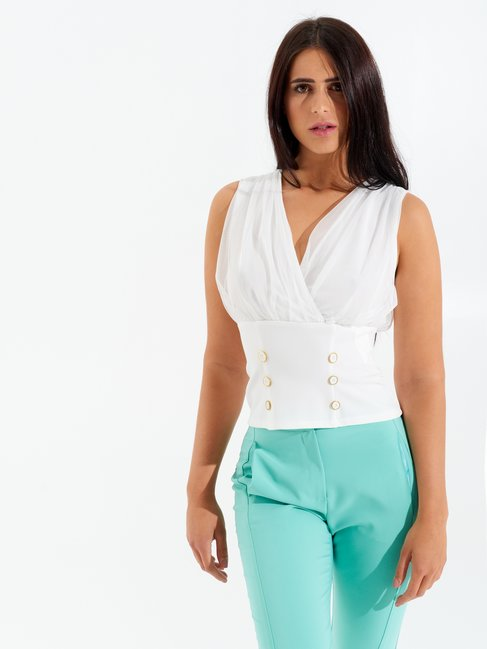 Crossover Top with Buttons White - CFC0098314003B021