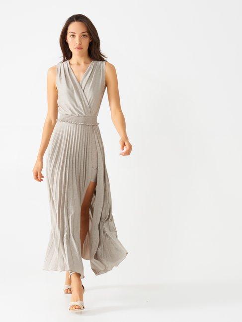 Long Plissé Dress with Slit Silver - CFC0098390003B265