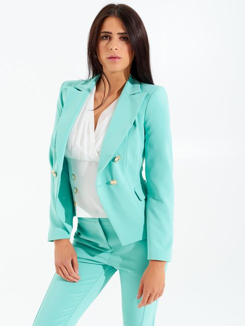 Shaped Double-breasted Jacket Green water - CFC0098398003B155