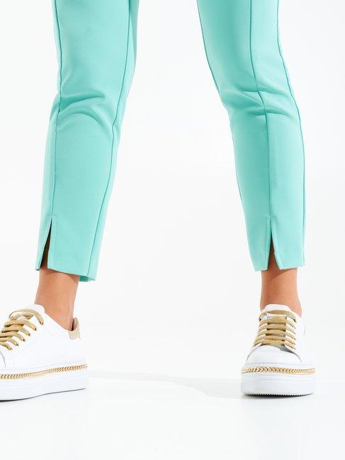 Pantaloni Aderenti con Spacchetti Acqua verde - CFC0098404003B155