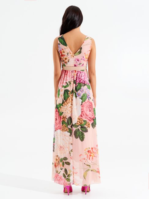 Langes Kleid mit Blumen var. Rosa - CFC0098564003B476