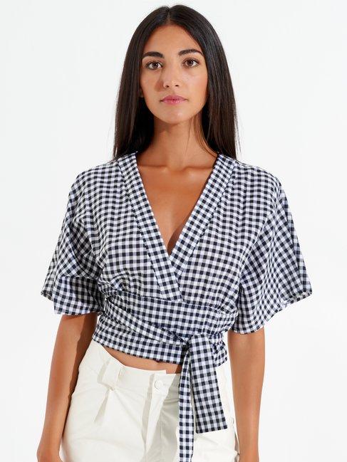 Kimono Blouse with Vichy Print var black - CFC0098689003B473