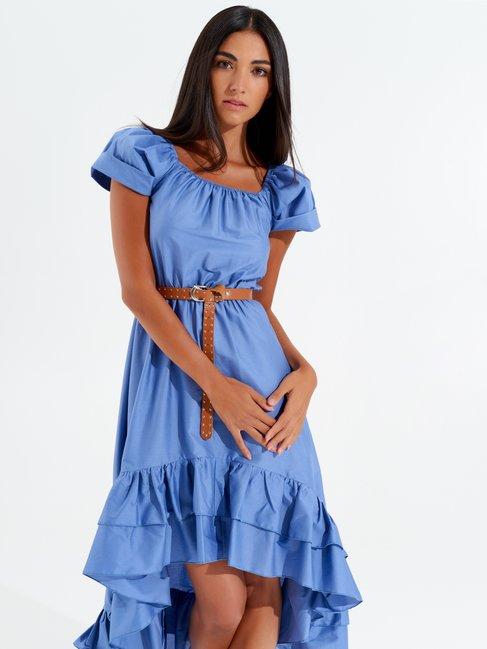 Long Asymmetrical Off-Shoulder Dress Sky Blue - CFC0098861003B075