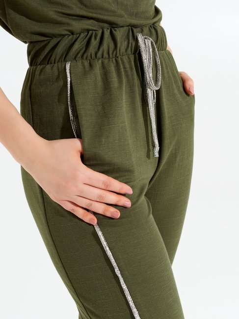 Viscose Jogging Trousers with Lurex Bands Militar green - CFC0098910003B159