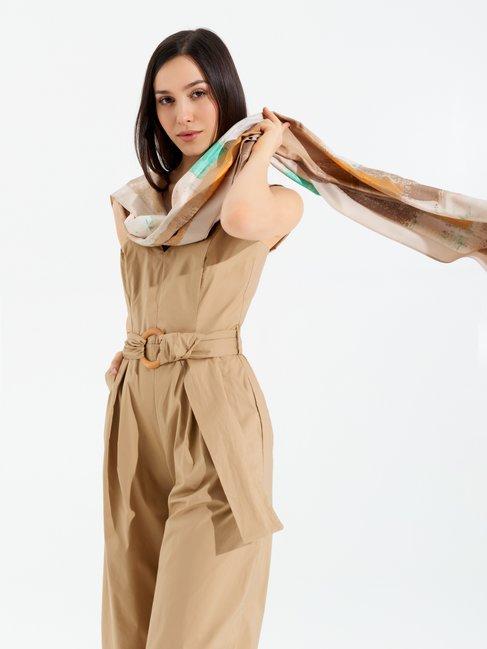 Combinaison-pantalon Cropped en Coton Beige - CFC0098973003B101