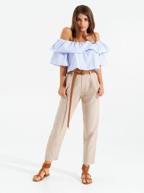 Linen Blend Trousers Beige - CFC0098999003B101