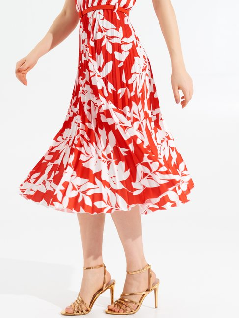 Striped and Floral Dress Coral Red - CFC0099161003B362
