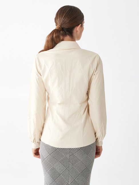 Long-sleeved shirt in faux leather Ivory - CFC0099482003B038
