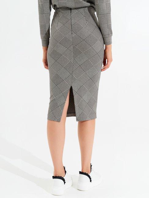 Longuette skirt in Pied-de-Poule var black - CFC0099528003B473