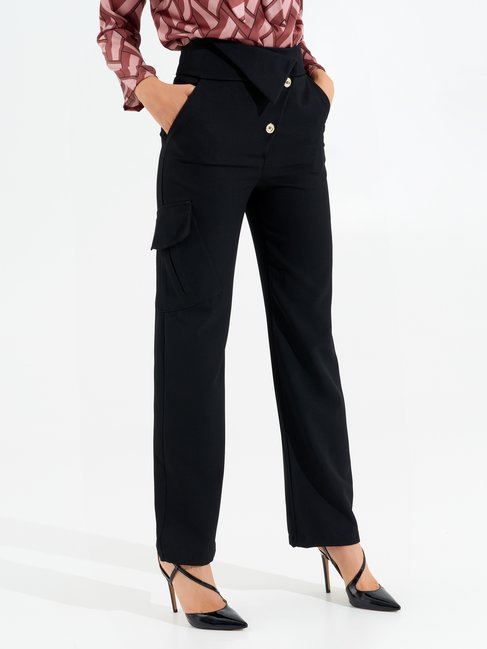 High-waisted Trousers with Buttons Black - CFC0099555003B001
