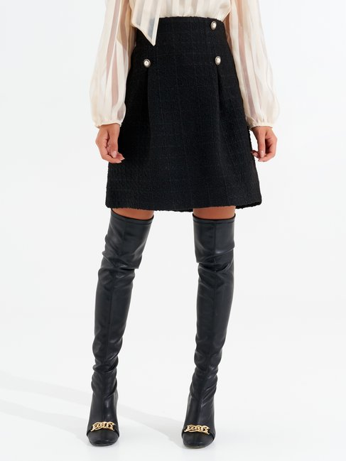 Short A-line tweed skirt Black - CFC0099605003B001