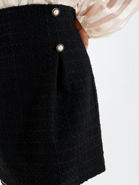 Minifalda de corte evasé de tweed Negro - CFC0099605003B001