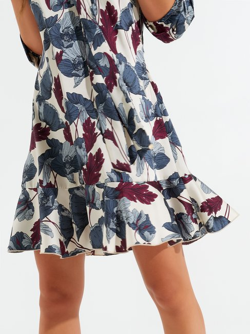 Short leaf-print dress var grey - CFC0099615003B456