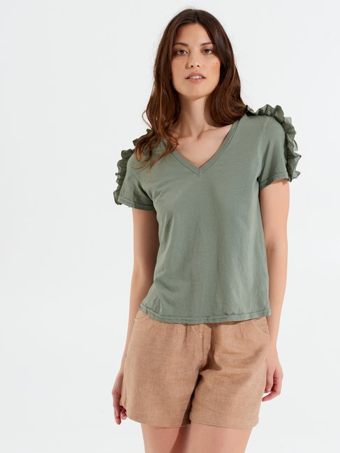 Cotton T-Shirt with Rouches Militar green - CFC0099654003B159
