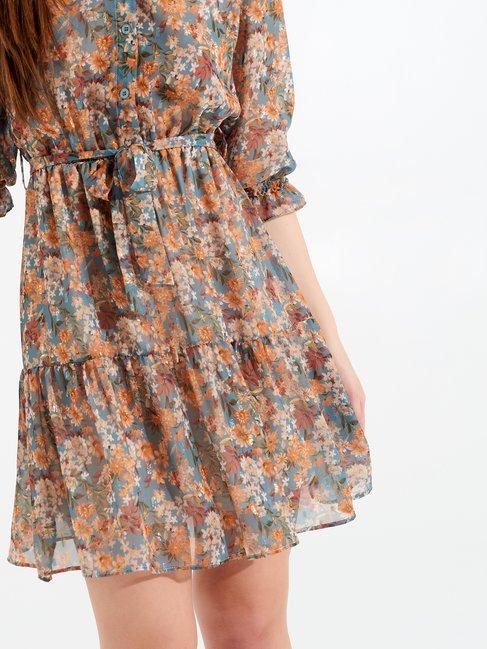 Short Floral Dress blue ligh paper sugar - CFC0099662003B393