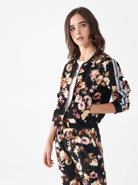 Sweatshirt mit Reißverschluss und Blumenmuster var. Schwarz - CFC0099732003B473