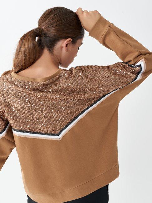 Sequinned jumper Camel Beige - CFC0099751003B117