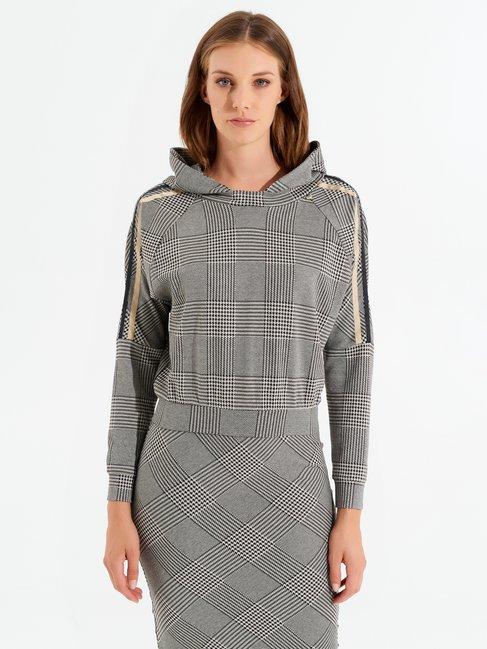 Cropped Pied-de-Poule sweatshirt var black - CFC0099785003B473