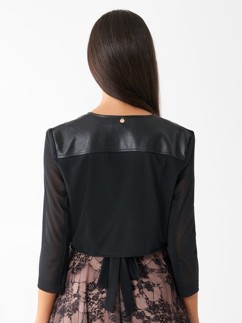 Faux leather and tulle shrug Black - CFC0099885003B001