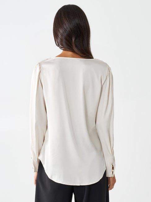 Cowl neck blouse White Wool - CFC0099899003B037