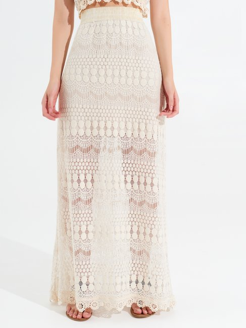 Long Crochet Skirt var beige - CFC0099953003B430