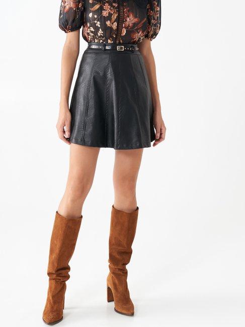 Short faux leather skirt Black - CFC0099974003B001