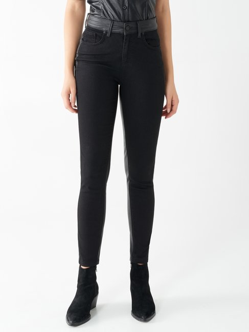 Skinny jeans with faux leather inserts Black - CFC0100036003B001