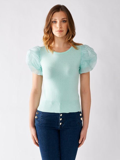 T-shirt with Puffed Sleeves in Organza green mint - CFM0009678003B411