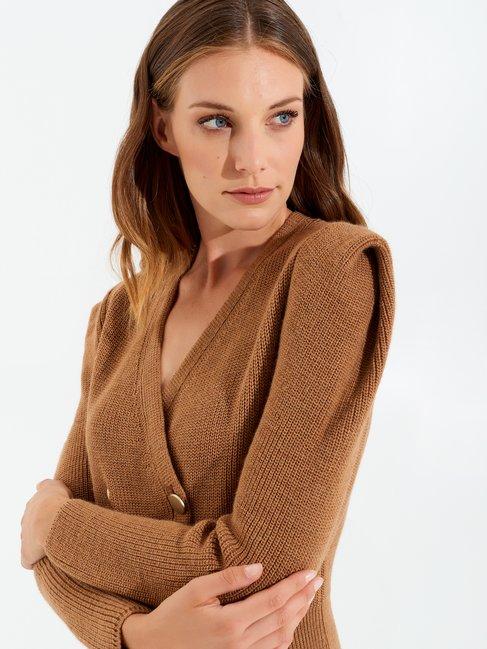 Double-breasted knit dress Camel Beige - CFM0009787003B117