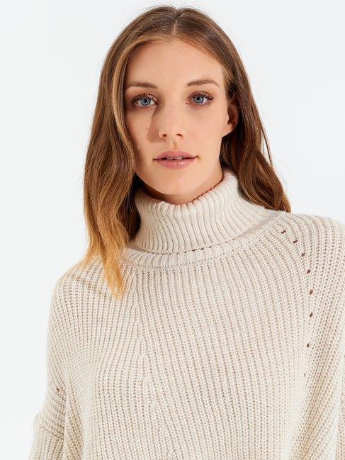 High-neck asymmetric wool-blend jumper White Cream - CFM0009824003B036