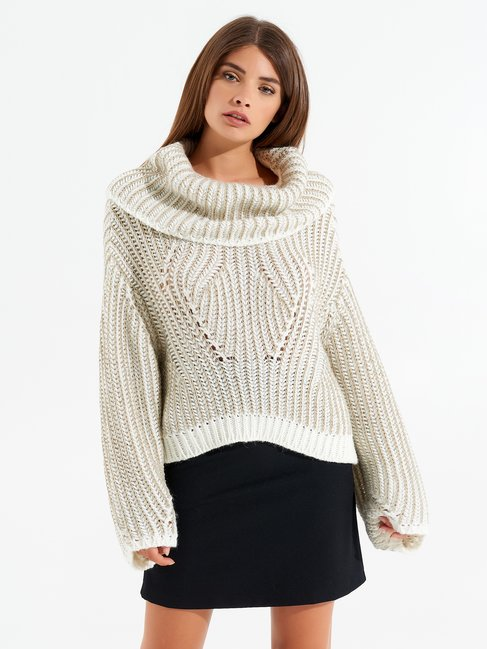 Cowl-neck jumper var white cream - CFM0009836003B438