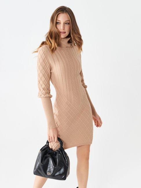 Short knitted dress Camel Beige - CFM0009964003B117