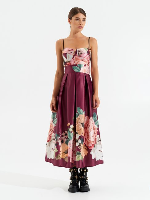Long floral dress var red bordeaux - CMP0000272003B482